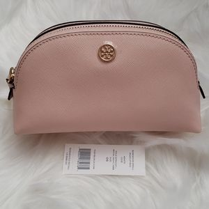 Tory Burch Pale Pink Robinson Small Makeup Bag